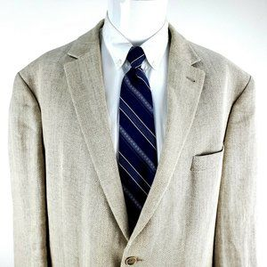 Joseph Abboud 50R 2 Button Linen Herringbone Cream